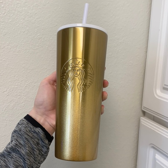 Starbucks Venti Gold & White Chrome SS tumbler